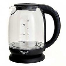 Delta Lux DE-1003 электрочайник, 2200 Вт, 1700 мл, стекло закаленное, цвет черный, гарантия 1 год