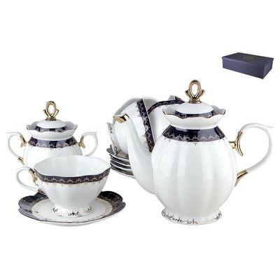 Коралл Кобальт V14-dark-blue сервиз чайный фарфор л, мм, чайник/6 чайных пар/сахарница