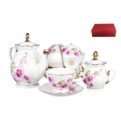 Коралл Орхидея V14-O сервиз чайный фарфор л, мм, чайник/6 чайных пар/сахарница