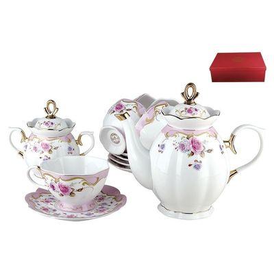 Коралл Розы VRD10 сервиз чайный фарфор л, мм, чайник/6 чайных пар/сахарница