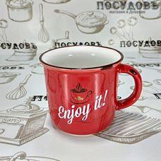 Lefard 260-452 кружка красная с надписью Enjoy it, фарфор, 400 мл, Китай, без упаковки 1 шт.