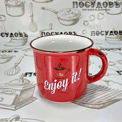 Lefard 260-452 кружка красная с надписью Enjoy it, фарфор, 400 мл