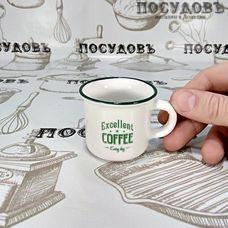 Lefard 260-346 чашка для эспрессо белая с декорированной надписью, фарфор, 75 мл, Китай, без упаковки 1 шт.