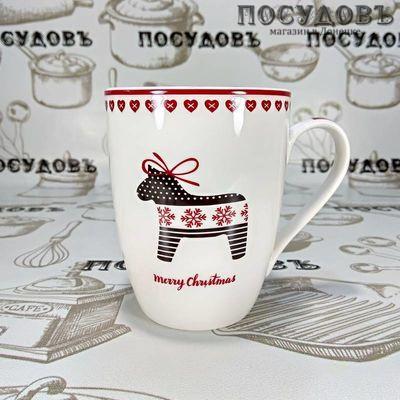 Lefard 260-390 кружка белая с рисунком и надписью Merry Christmas, фарфор, 380 мл