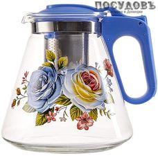 Alpenkok AK-5511/4А чайник заварочный с фильтром синий, стекло термостойкое, 1200 мл
