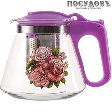 Alpenkok АК-5510/15А  чайник заварочный с фильтром лавандовый с рисунком, стекло, 700 мл