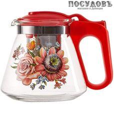 Alpenkok АК-5510/8А  чайник заварочный с фильтром темно-розовый с рисунком, стекло, 700 мл