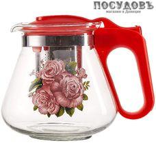 Alpenkok AK-5512/16А чайник заварочный с фильтром коралловый, стекло термостойкое, 700 мл