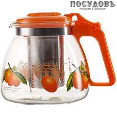 Alpenkok АК-5513/6A  чайник заварочный с фильтром оранжевый с рисунком, стекло, 900 мл