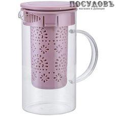 Alpenkok AK-5520/5 чайник заварочный с фильтром бежево-розовый, стекло, 1000 мл