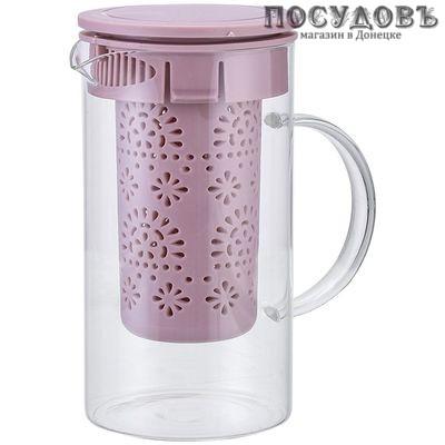 Alpenkok AK-5520/5 чайник заварочный с фильтром, стекло, 1000 мл бежево-розовый