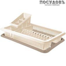 Plast Team Bono GR1562СЛ сушилка для посуды с поддоном, полипропилен, 480×305×170 мм, цвет бежевый, 2 пр.