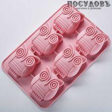 """Webber """"Совы"""" BE-4353S розовый, прямоугольная форма для выпечки кексов, 6 формочек, силикон, 260×170×30 мм, Россия, в упаковке 1 шт"""