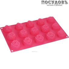 КНР 16523-7, прямоугольная форма для выпечки кексов, 15 формочек, силикон, 280×170×30 мм, Китай, без упаковки 1 шт