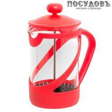 """Attribute """"Basic Color"""" ATT851 красный, френч-пресс с фильтром 850 мл, стекло термостойкое, пластиковый корпус, Китай, в упаковке 1 шт"""