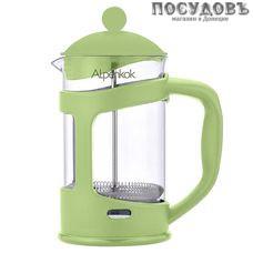 Alpenkok АК-707/10 зеленый, френч-пресс с фильтром из нержавеющей стали, 1000 мл, стекло закаленное, Китай, в упаковке 1 шт