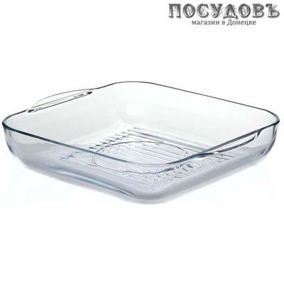 Borcam 59874, квадратная форма-гриль для выпечки, стекло жаропрочное, 318×283×60 мм, 3250 мл
