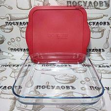 Borcam 59024/1093246, квадратная форма для выпечки, стекло жаропрочное, 318×283×60 мм, 3200 мл, Турция, в упаковке 2 предмета