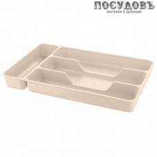 Phibo 433209207 лоток для столовых приборов, 4 секции, 280×176×35 мм, полипропилен, сливочный крем