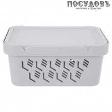 Бытпласт Deluxe 433205530 ящик с крышкой, полипропилен, 270×190×120 мм, 4,6 л, цвет светло-серый