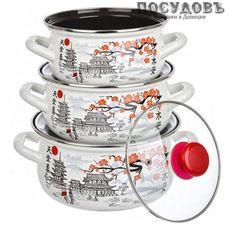 КМК Ветка сакуры Экстра набор посуды, 3 кастрюли с крышками, сталь эмалированная, 6 пр.