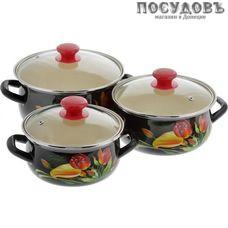 КМК Грациозный Экстра набор посуды, 3 кастрюли с крышками, сталь эмалированная, 6 пр.