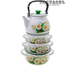 КМК Марианна-1 набор посуды, 3 кастрюли, чайник, сталь эмалированная, белый, 8 пр.