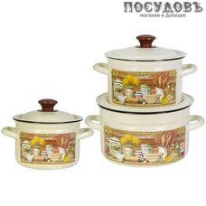 КМК Сельский мотив-1 набор посуды, 3 кастрюли с крышками, сталь эмалированная, слоновая кость, 6 пр.