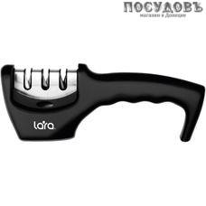 LARA LR05-03, точило для ножей, съемный блок с 3 точильными полотнами, черный