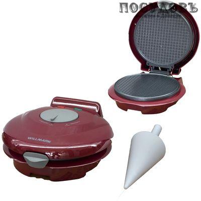 WillMark WM-103R вафельница электрическая, 750 Вт, цвет красный металлик