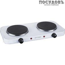 Optima НP-2020W плита электрическая, 2-конфорочная, 2000 Вт, эмалированное покрытие, цвет белый