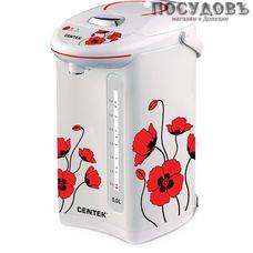 Centek CT-1080T термопот 5,0 л, 750 Вт, корпус: сталь, цвет белый с рисунком