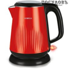 Centek 1025CT  электрочайник, 2200 Вт, 1800 мл, двойной нержавейка/пластик, цвет красный