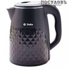 Delta DL-1103 электрочайник, 2000 Вт, 2500 мл, двойной нержавейка/пластик, светодиод, цвет черный, Китай, гарантия 1 год