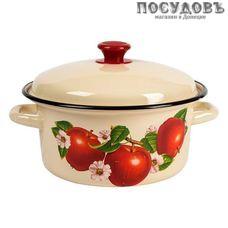 КМК 41804-142/6 кастрюля объемом 4 л, эмалированная сталь, цвет слоновый с рисунком, с крышкой, Россия