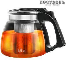 LARA LR06-14, чайник заварочный с фильтром, стекло жаропрочное, из нержавеющей стали, 900 мл, Китай, в подарочной упаковке 1 шт.