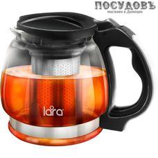 LARA LR06-15, чайник заварочный с фильтром, стекло жаропрочное, из нержавеющей стали, 850 мл, Китай, в подарочной упаковке 1 шт.