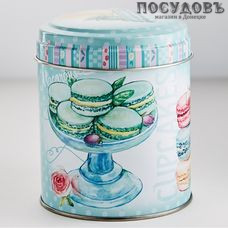 РФЖУ Десерт мятный 080-01710 банка для хранения с крышкой, Ø99×110 мм, 800 мл, жесть, Россия