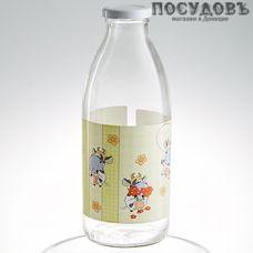 """Атес """"Веселая буренка"""" 123-13001, бутылка с крышкой объемом 750 мл, материал стекло, Россия, без упаковки 1 шт"""