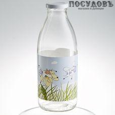 """Атес """"Счастливая корова"""" 123-13004, бутылка с крышкой объемом 750 мл, материал стекло, Россия, без упаковки 1 шт"""