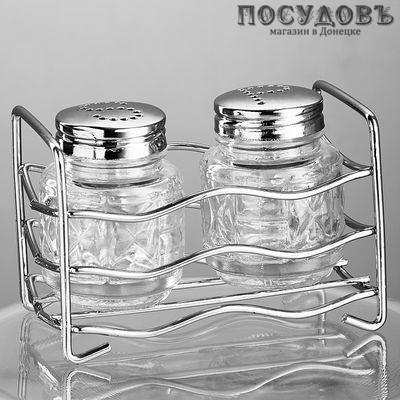 Webber BE-0066 набор для специй солонка, перечница, подставка, стекло, хромированый металл, 80 мл