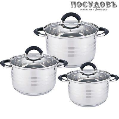 Webber BE-623/6 набор посуды, 3 кастрюли с крышками, сталь нержавеющая, 6 пр.