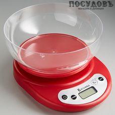 Василиса ВА-010 весы кухонные с чашей, до 7,0 кг, цвет красный