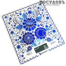 Василиса ВА-005 Гжель весы кухонные-платформа, 200×180×15 мм, до 5 кг, гарантия 1 год