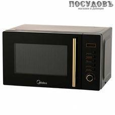 Midea AM820CMF-BG отдельностоящая микроволновая печь, 800 Вт, обычная (соло), 20 л, черная с золотой обводкой
