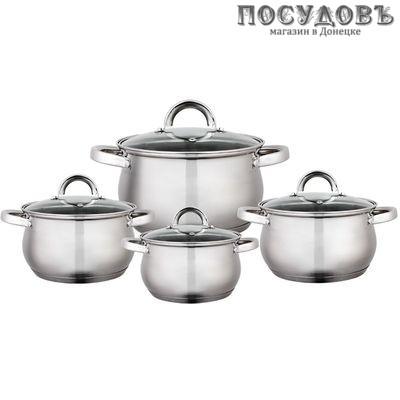 Webber BE-620/8 набор посуды, 4 кастрюли с крышками, сталь нержавеющая, 8 пр.