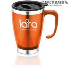 LARA LR04-38 термокружка, колба сталь нержавеющая 400 мл, цвет оранжевый