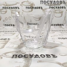Pasabahce Sylvana 53628 ведёрко для льда с щипцами, Ø120×130 мм, стекло, Россия, в упаковке 2 пр.