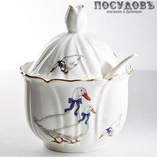Beatrix Гуси МН092E сахарница с крышкой и ложкой, цвет белый с рисунком, 250 мл, фарфор, Китай, в упаковке 3 предмета