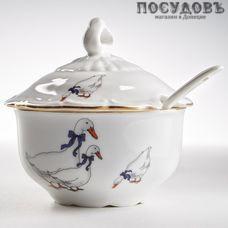 Beatrix Гуси МН093E сахарница с крышкой и ложкой, цвет белый с рисунком, 250 мл, фарфор, Китай, в упаковке 3 предмета